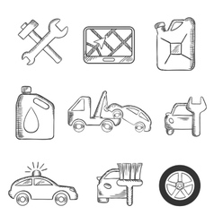 Car service sketch icons set vector image
