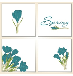 Cards with hand drawn crocus vector