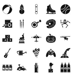 childishness icons set simple style vector image vector image