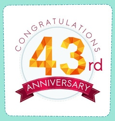 Colorful polygonal anniversary logo 3 043 vector