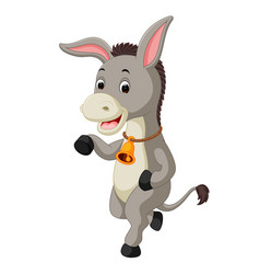 cute donkey cartoon waving hand vector image vector image