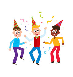 flat boys kids dancing in party hat vector image