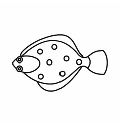 Flounder fish icon outline style vector
