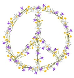 Flower power peace symbol vector