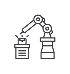 industrial automation line icon sign vector image vector image