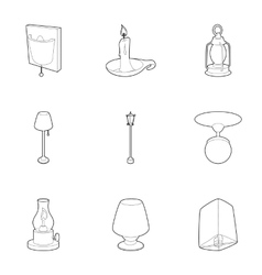 Light for home icons set outline style vector