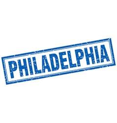 Philadelphia blue square grunge stamp on white vector