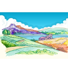 Picture - Hills in Spring vector image