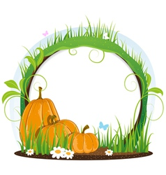 Pumpkins with leaves flowers and butterflies vector