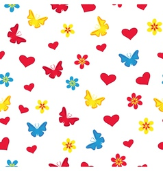 Seamless pattern with hearts butterflies and vector