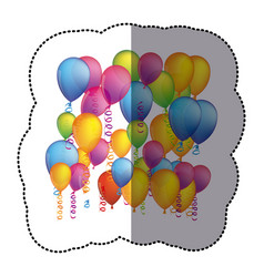 Sticker colorful background with flying balloons vector
