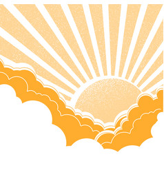 sun with clouds nature yellow background vector image vector image
