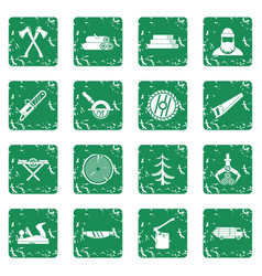Timber industry icons set grunge vector