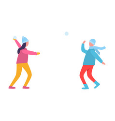young people playing snowballs vector image
