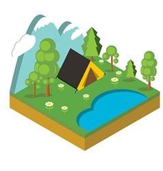 Iisometric camp flat 3d isometric pixel art vector image