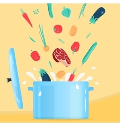 Cooking food in pot vector