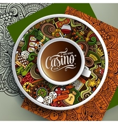 Cup of coffee casino doodles on a saucer paper vector