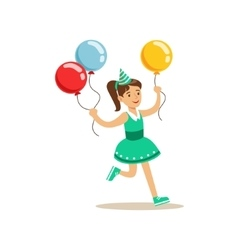 Girl running with three multicolor party balloons vector