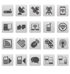 Wireless icons on gray squares vector