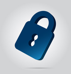 3d image - blue closed padlock icon with shadow vector image