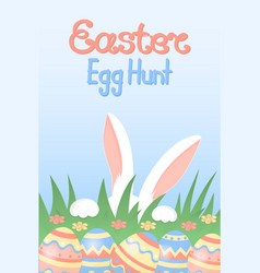 easter egg hunt white rabbit hiding in the grass vector image