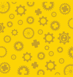 gearss pattern yellow background vector image