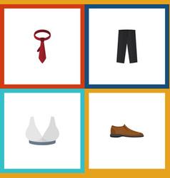 Flat icon dress set of brasserie pants cravat vector