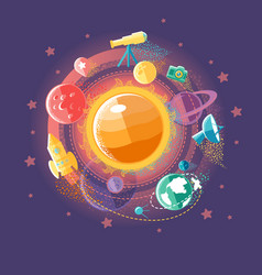 Solar system and space flights vector