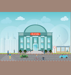 Bank building exterior vector