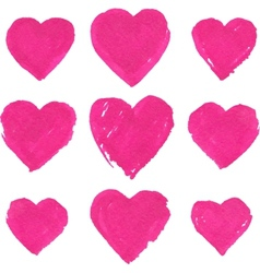 Pink acrylic color painted hearts set vector