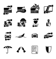 Insurance security icons set vector