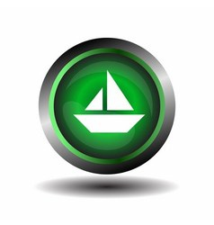 Sail icon on round internet button vector