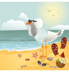 Seagull on the beach looking through binoculars vector