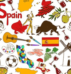 Sketch spain seamless pattern vector