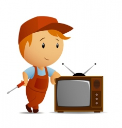 Tv technician vector