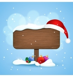 Wooden sign with christmas hat and baubles in the vector