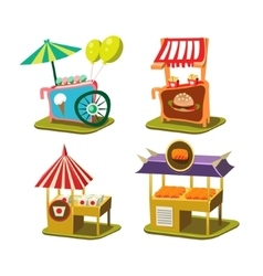 Cart stall and ice cream vector