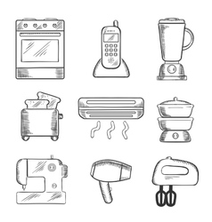 Home appliance sketched icons set vector