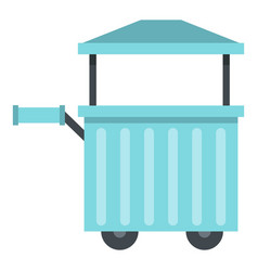Blue trolley with awning icon isolated vector