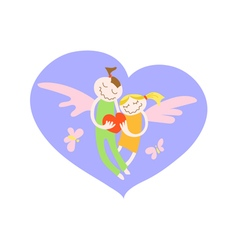 Card for saint valentine day loving boy and girl vector