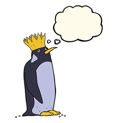 Cartoon emperor penguin with thought bubble vector