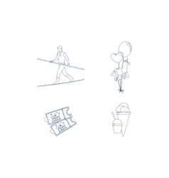 Circus blue line art icons vector image vector image