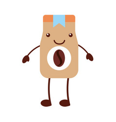 coffee toast bag kawaii character vector image vector image