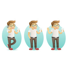 Cute smiling geek happy hipster with smartphone vector