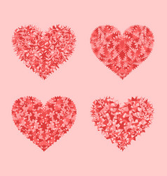 Decorated red pink and rose hearts mosaic set vector