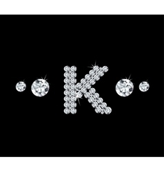 Diamond alphabetic letter K vector image vector image