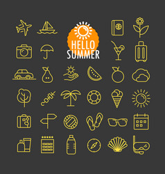 different summer icons collection web and mobile vector image vector image