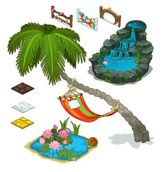 Elements of decorating landscape island theme vector