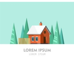 Family house winter home vector