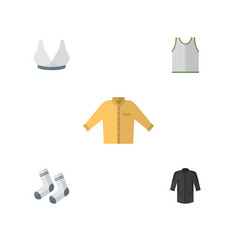 Flat icon clothes set of singlet banyan uniform vector